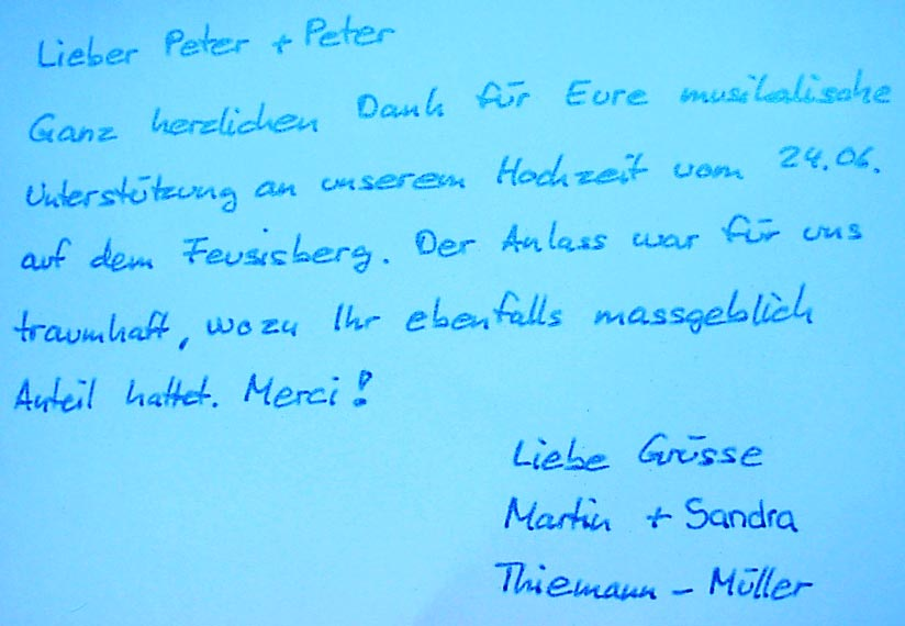 Peter&Peter: Danke!